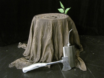 Stump with Hatchet and Oil Can