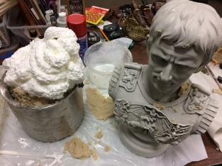 Spray Foam in Caesar Bust Mold