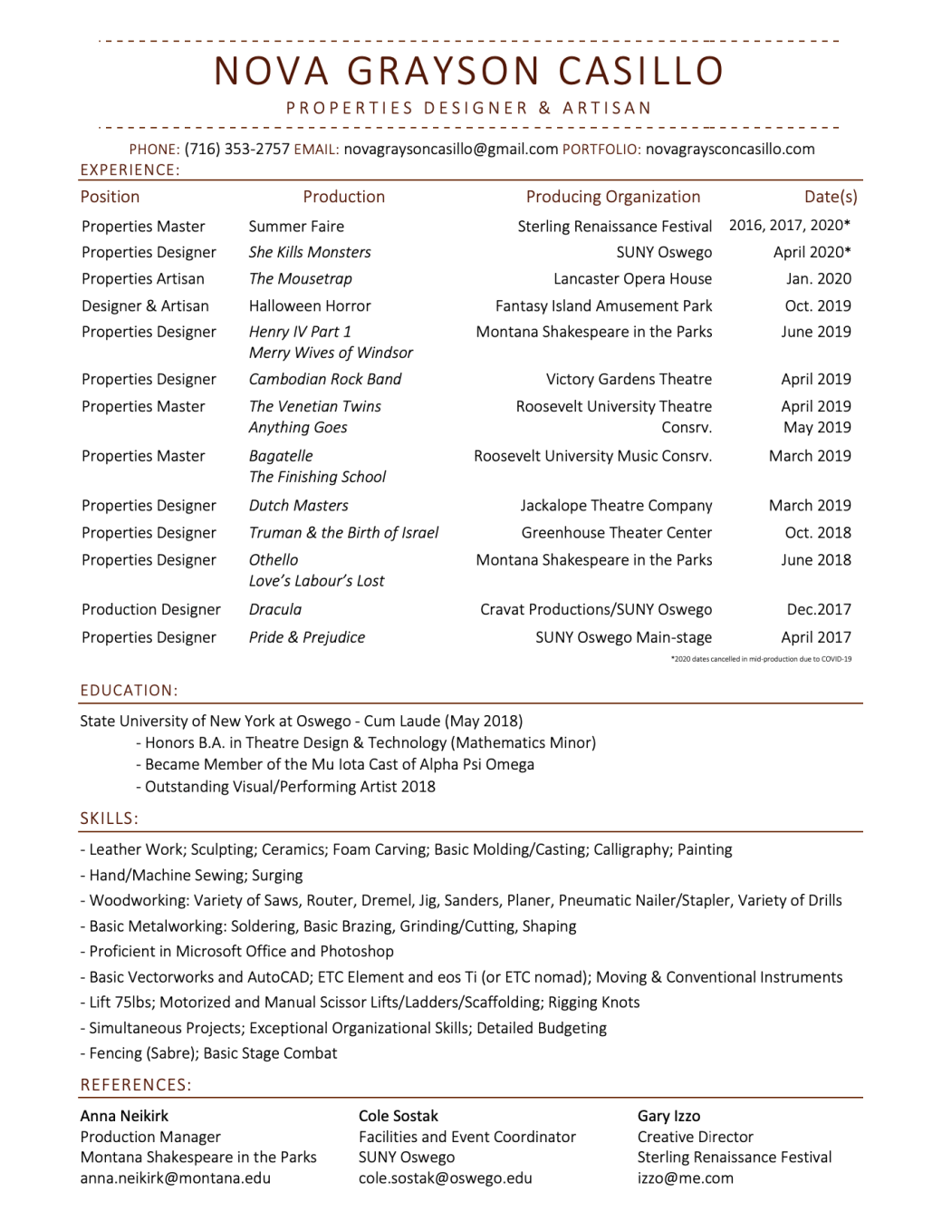 Casillo Resume - Props - 9.22.20